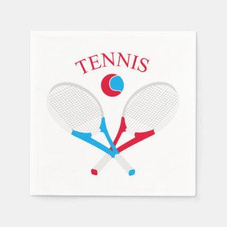 De rackets van het tennis en tennisbal wegwerp servetten