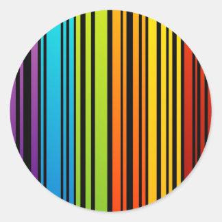 De rassenbarrièrecode van de regenboog ronde sticker