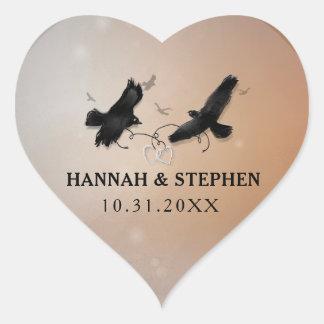 De Raven van Halloween met het Hart van het Hart Sticker