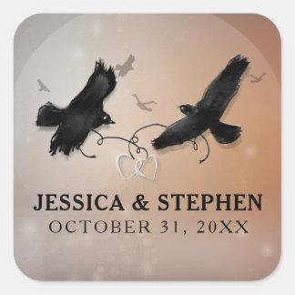 De Raven van Halloween met het Vierkant van het Vierkante Sticker