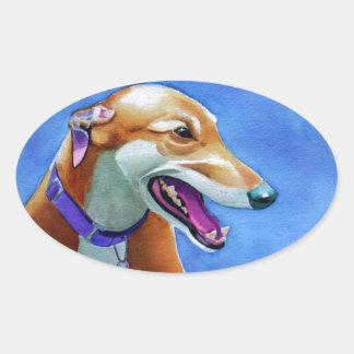 De Redding van de windhond Ovale Sticker