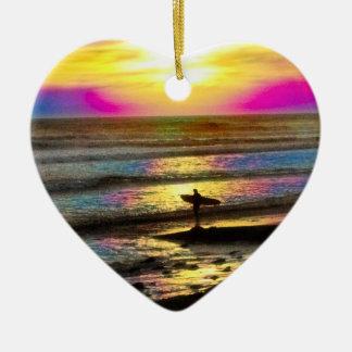 De Reeks van de Droom van Surfer #2 Keramisch Hart Ornament