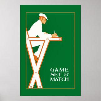 De reeks van het spel en gelijke, retro poster