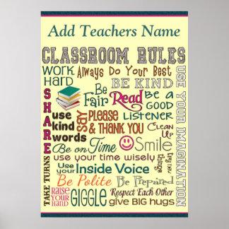 De Regel van de Zaal van de Klasse van de leraar v Poster