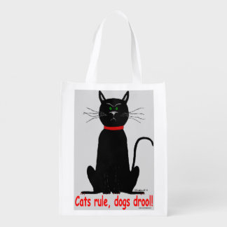 De regel van katten! de slechtgehumeurde zwarte herbruikbare boodschappentas