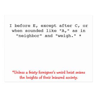 De Regels van de spelling: I vóór E Briefkaart