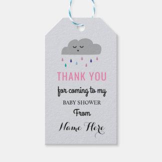 De Regen die van het Baby shower van de wolk Roze Cadeaulabel