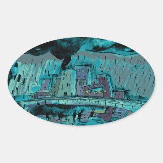 De Regen van de herfst Ovale Sticker