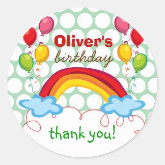 De regenbogen & het Kind van Ballons danken u de Ronde Stickers