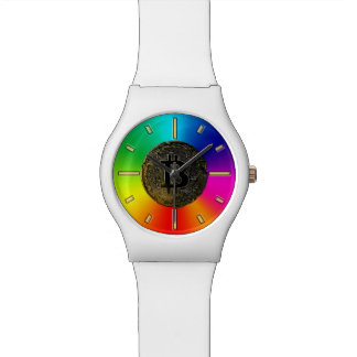 De regenboog kleurt bitcoin polshorloge