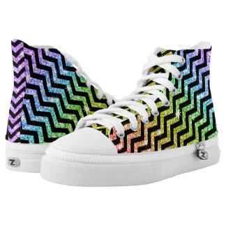 De Regenboog LGBT van de Trots van de Zigzag van High Top Schoenen