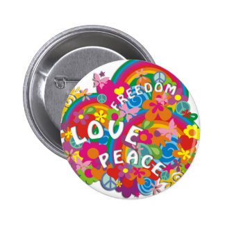De Regenboog van flower power Ronde Button 5,7 Cm