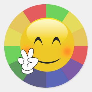 De Regenboog van het Teken van de Vrede van Emoji Ronde Sticker