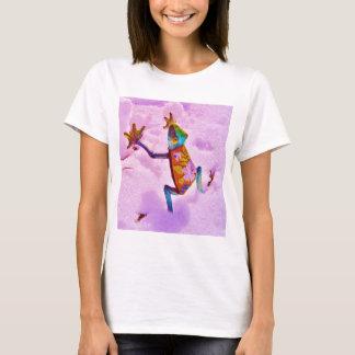 De regenboogkikker van de bloem op de sneeuw van t shirt