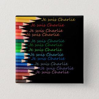 De regenboogpotloden van Suis Charlie van Je Vierkante Button 5,1 Cm