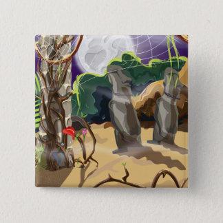 De regenwoud Verborgen illustratie van de Tempel Vierkante Button 5,1 Cm