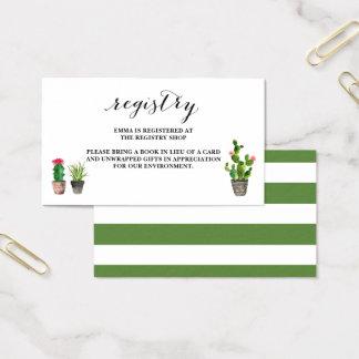De Registratie van het Baby shower van Succulents Visitekaartjes