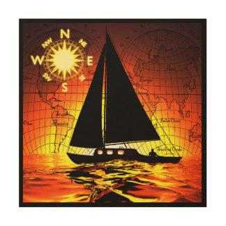 De Reis van de zonsondergang Houten Canvas Print