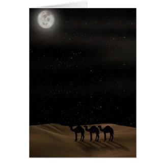 De Reis van kamelen met de Maan van de Woestijn Briefkaarten 0