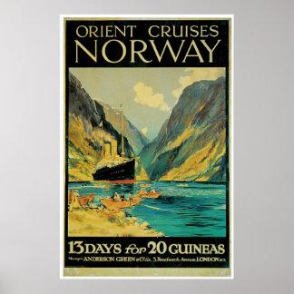 De Reis van Noorwegen - de Vintage Reclame van het Poster