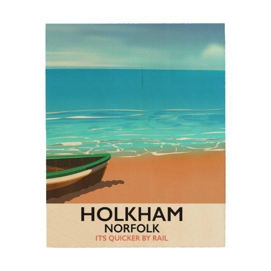 De reisposter van het Strand van Norfolk van Afdrukken Op Hout