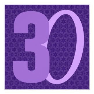 de Reusachtige Aantallen van de 30ste Verjaardag 13,3x13,3 Vierkante Uitnodiging Kaart
