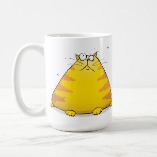 De reusachtige Vette Cartoon van de Kat op de Koffiemok