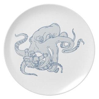 De reuze het Vechten van de Octopus Tekening van Melamine+bord