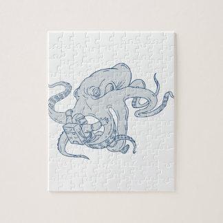 De reuze het Vechten van de Octopus Tekening van Puzzel