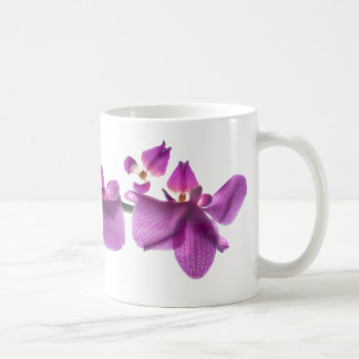 De Rij van de orchidee op de Witte Klassieke Witte Koffiemok