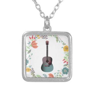 De Ring van de Bloem van de gitaar Zilver Vergulden Ketting