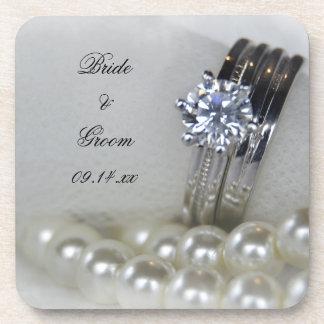 De Ringen van de diamant en het Witte Huwelijk van Drankjes Onderzetter