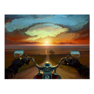De Rit van de motorfiets in de Zonsondergang Briefkaart