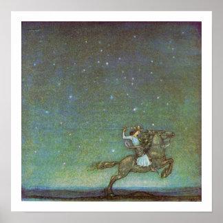 De ritten van de Prins in Maanlicht door John Poster