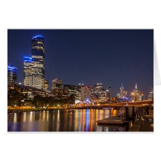De Rivier van Yarra van Melbourne bij nacht Wenskaart