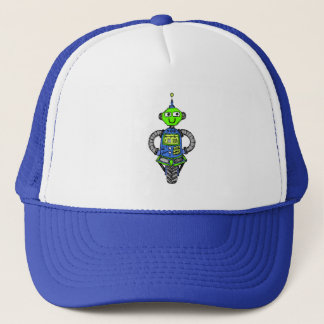 De robot van Arnie, blauw en groen Trucker Pet
