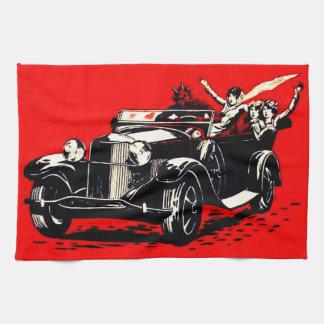De rode Auto van de Vrouwen van de Ontvoering Theedoek