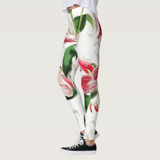 De rode Aziatische Bloemen van de Lelie helemaal Leggings