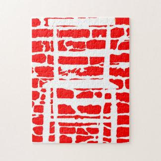 De rode Bakstenen muur met de Witte Figuurzaag van Puzzel