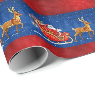 De rode blauwe Kerstman die van Kerstmis aromslag Cadeaupapier