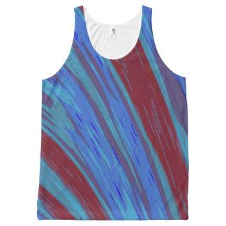 De rode Blauwe Slis van de Kleur All-Over-Print Tank Top
