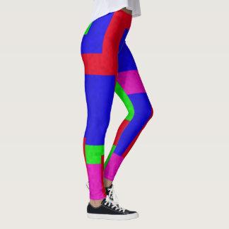 De rode Blauwgroene Samenvatting kleurde Blokken, Leggings