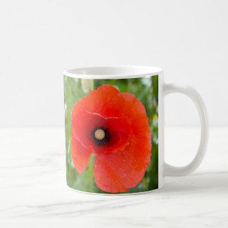 De rode Bloem van de Papaver op een gebied Koffiemok