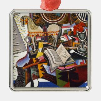 De Rode Bloem van de Pijp van het paard door Joan Zilverkleurig Vierkant Ornament