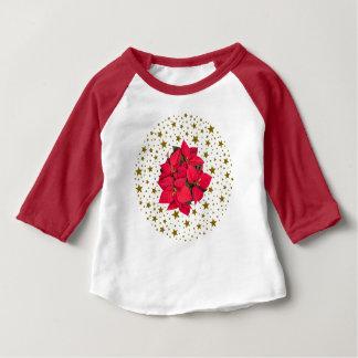 De rode bloem van Kerstmis en sparkly gouden Baby T Shirts