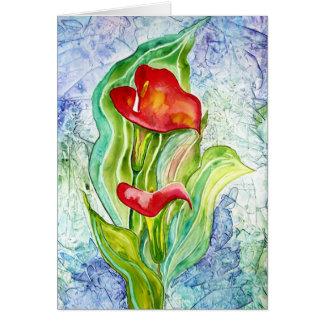 De rode Calla Waterverf van de Douane van Lelies Kaart