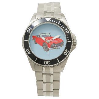 De rode Convertibele Sportwagen van Triumph Tr4 Horloge