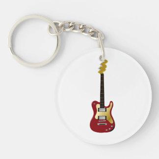 De rode elektrische gele gitaar bruist asblok 2-Zijde ronde acryl sleutelhanger
