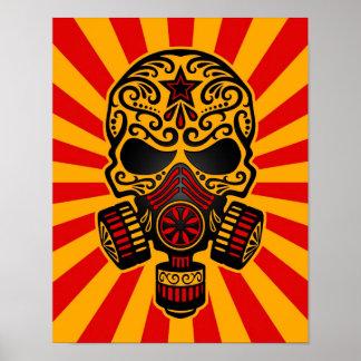 De rode en Gele Post Apocalyptische Schedel van de Poster