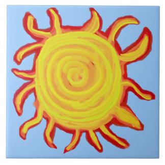De Rode en Gele Zon van Swirly Keramisch Tegeltje